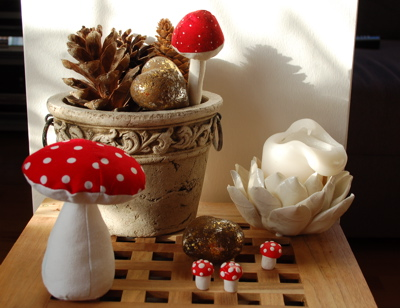 ... selber nähen, Fliegenpilze aus Fimo, Pilze, Giftpilze, Herbstdeko